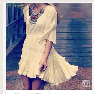 Free People Rayon Gauze Dream Cloud Dress Ivory