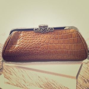 Faux Alligator Skin Clutch