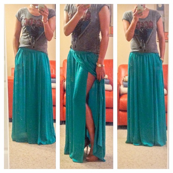 zara zara silk like maxi skirt from s closet on