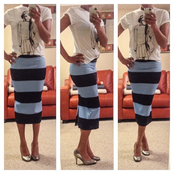 zara sold in bundle striped pencil skirt from s