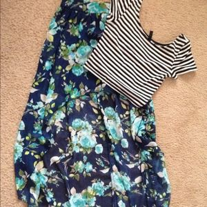 BNWT Hi-Low Blue Floral Skirt