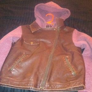 Size medium brown leather Stussy jacket