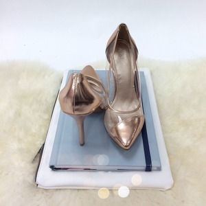 Shoes - Rose Gold Metallic & Lucite Panel Pumps