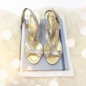 J. Crew Shoes - J. Crew Gold Metallic Strappy Slingback Heels