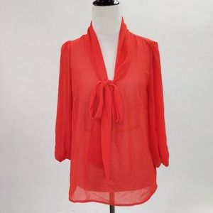 Lovely Day  Tops - Red Orange Bow Tie Blouse
