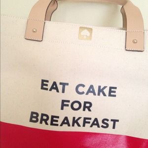 Kate Spade EAT CAKE FOR BREAKFAST magazine tote