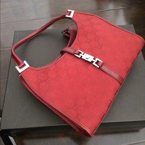 ba05cf1a0876 Gucci Bags | Red Monogram Canvas Bardot Bag | Poshmark