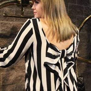Tops - Striped Bow Top