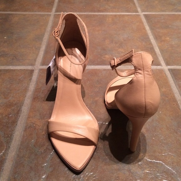 Zara - Zara Nude Asymmetric Heel with Ankle Strap from Ally's ...