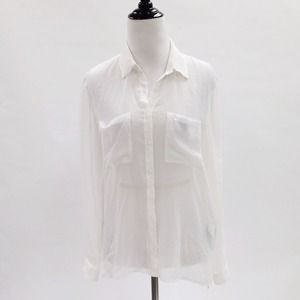 H&M Tops - Sheer White Collar Shirt Blouse