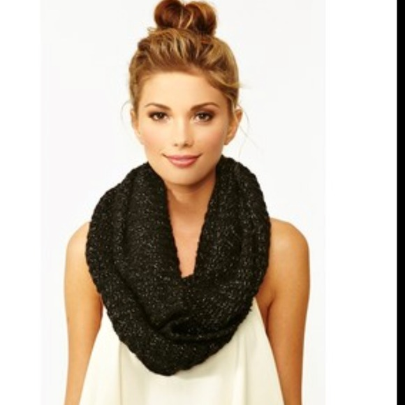 Black Knitted Infinity Scarf Knit Infinity Scarf