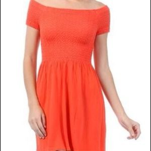 M. Rena Orange Stretch Mini Dress OSFA
