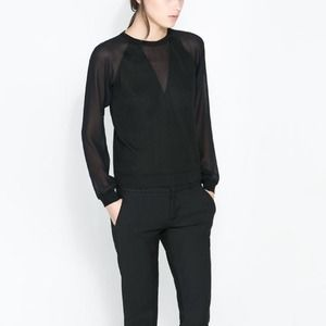 Zara Tops - Zara black sheet combination shirt