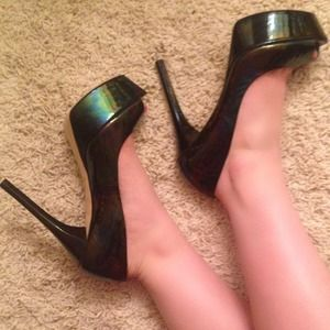 BRIAN ATWOOD black iridescent peep toe pumps