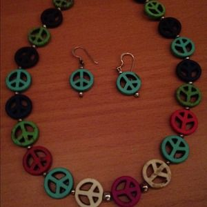 Peace sign necklace and earring