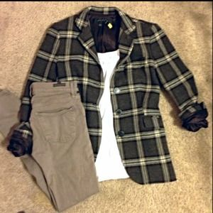 Zara Jackets & Blazers - PRICE DROP Dark brown Zara plaid wool blazer
