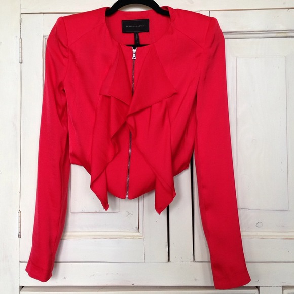 49% off BCBGMaxAzria Jackets & Blazers - BCBG red crop blazer from ...