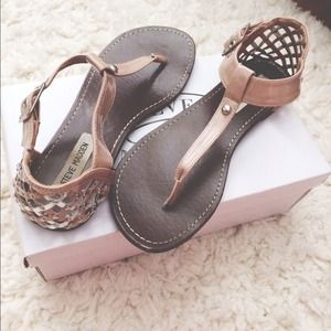 Steve Madden Nude and Silver Sandals