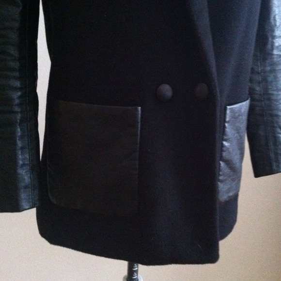 h m Faux Leather Sleeve Coat