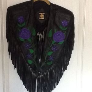 Embroidery black leather vintage vest for rodeo