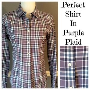 J. Crew Tops - J. Crew Perfect Shirt in Purple Plaid