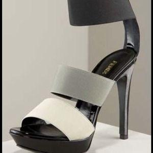 Fendi Elastic Platform Gray Black Sandal 40/10 NWT