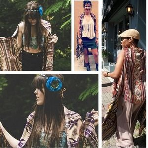 Free People by Raj Aztec Fringe Vest