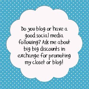 Other - BIG discount for promoting my closet or blog!