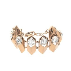J.Crew. BRASS AND CRYSTAL PETAL BRACELET