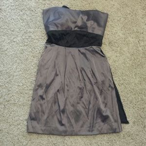 Dark mauve or purple pleated strapless dress