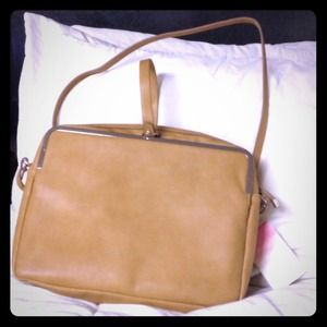 ZARA TAN TRAFALUC CUBE CLUTCH SHOULDER BAG