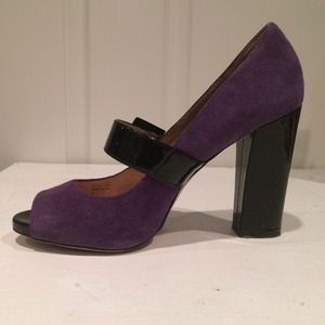 Michael Kors suede purple peep toe pump