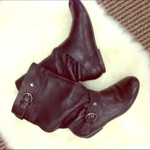 Shoes - Black Leather Biker Short Booties