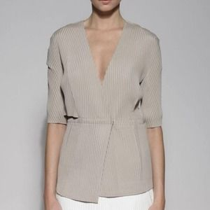 Calvin Klein Collection Silk Crepe Pleated Jabket