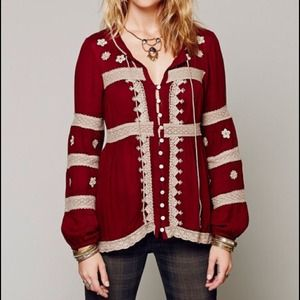 Free People Red Boho Iris Top XS