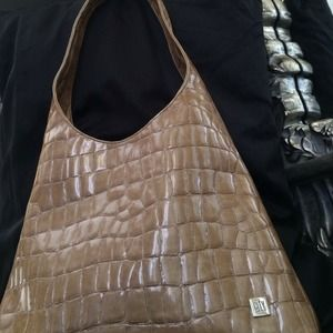 City DKNY iridescent cream handbag