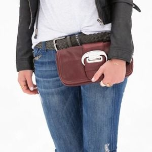 Michael Kors burgundy leather clutch