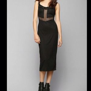 Mesh lace black midi dress