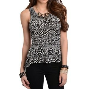 Sleeveless Peplum Tribal Top