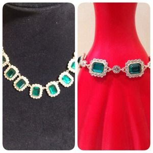 Emerald and rhinestone necklace and bracelet 