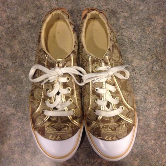 Gold And Tan Coach Sneakers   Poshmark