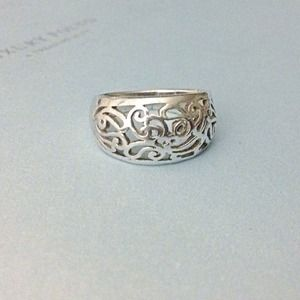 sterling silver open cutout filigree dome ring