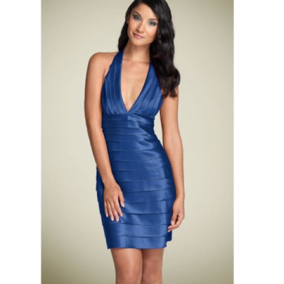 78% off BCBG Dresses & Skirts - BCBG Blue Tiered Halter Dress Size ...
