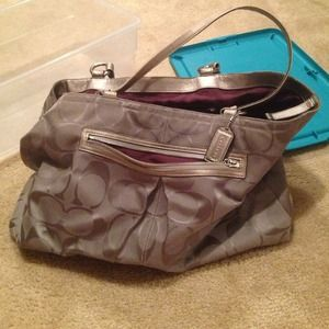 REDUCED Giant gray coach bag! Auth. purple inside