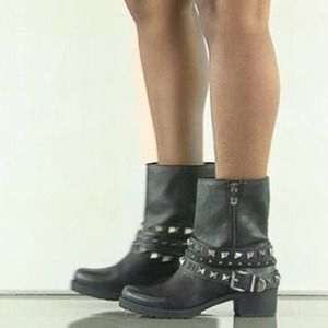 BCBGeneration Black Studded Moto Boots