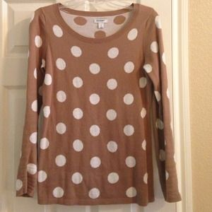 Old Navy Sweaters - Old navy tan & white polka dot sweater.