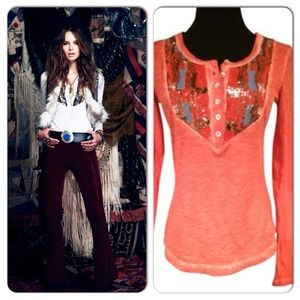 Free People Tiger's Eye Sequin Bib Top Henley M