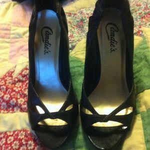 Candies black peep toe heels