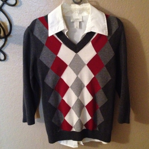 Van Heusen Women'S Argyle Sweater 14