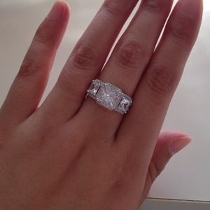 925 silver cz three stone halo engagement ring